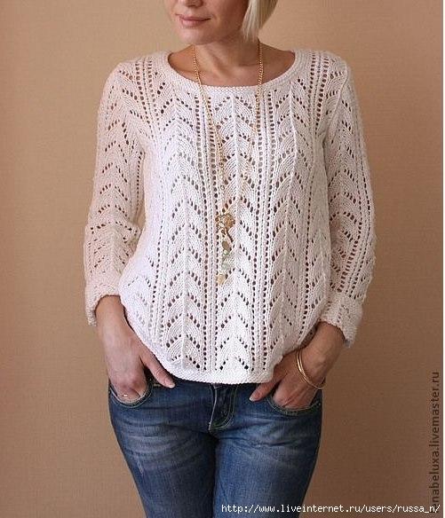пуловер с фантазийной кокеткой.
